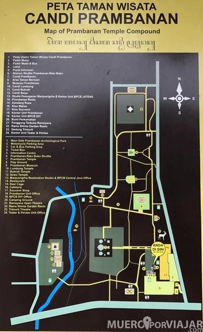 Mapa del conjunto de Prambanan en Yogyakarta