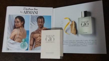 muestras gratis recibidas Julio perfume Giorgio Armani