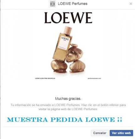 muestras gratis perfume Loewe pedidas
