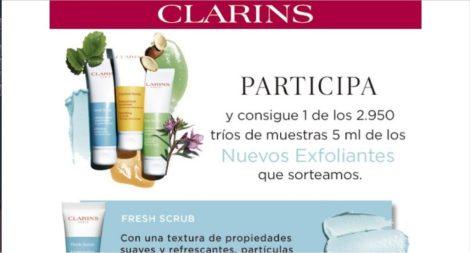 sorteo Claris trío de muestras exfoliantes