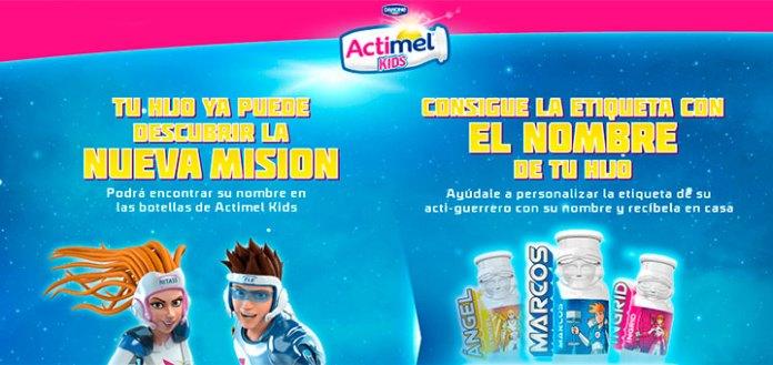 Etiquetas personalizadas gratis con Actimel Kids