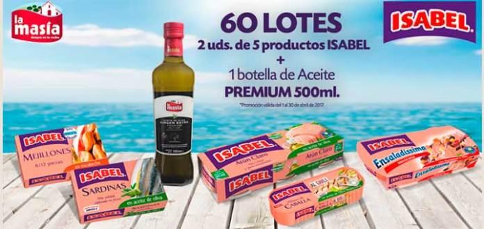 Sortean lotes de productos Isabel y La Masía
