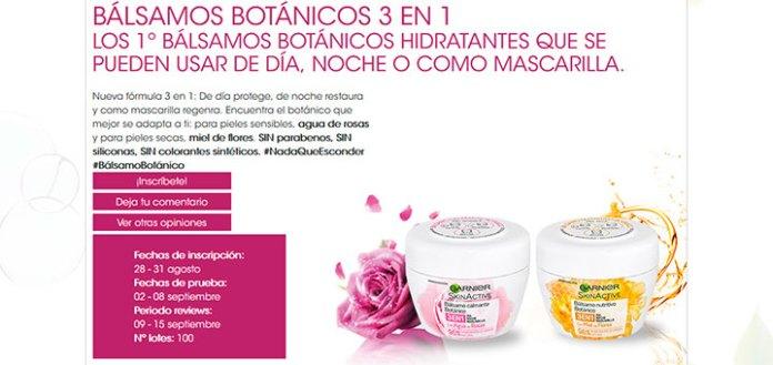 Prueba gratis Bálsamos Botánicos 3 en 1 Garnier