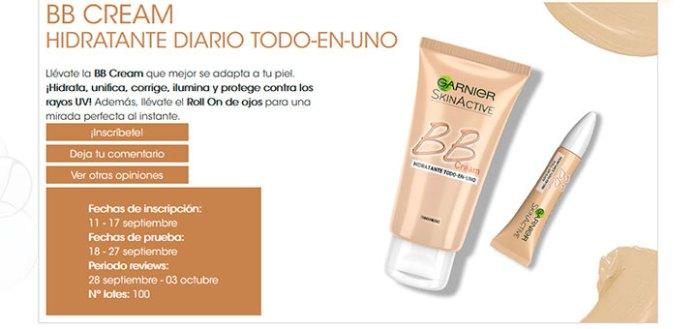 Prueba gratis BB Cream Skin Active de Garnier