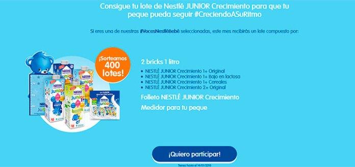 Consigue un lote de Nestlé Junior Crecimiento