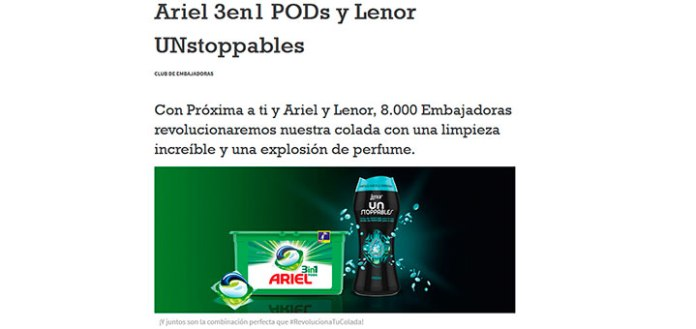 Proxima a ti busca 8.000 embajadoras con Ariel y Lenor