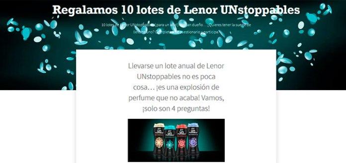 Regalan 10 lotes de Lenor UNstoppables