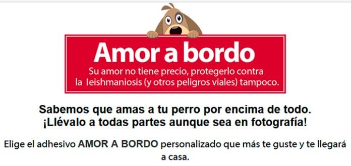Consigue gratis tu pegatina Amor a Bordo de Advantix