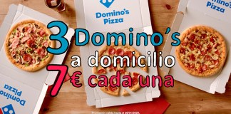 3 pizzas medianas por 7€ en Domino's Pizza