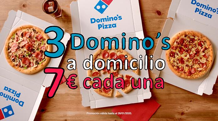 3 pizzas medianas por 7€ en Domino's Pizza