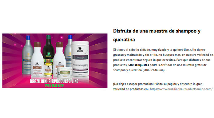 Muestras gratis de Brazilianhairproducts
