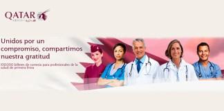 100.000 billetes de cortesía para sanitarios con Qatar Airways