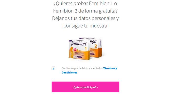 Muestras gratis de Femibion 1 o Femibion 2