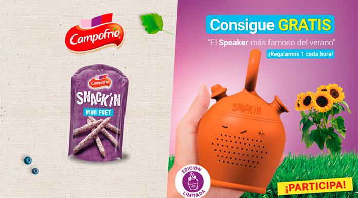 Consigue gratis un speaker con Snack'In de Campofrío