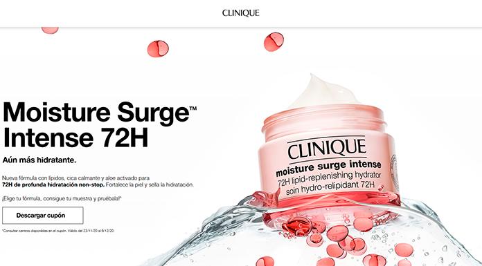 Clinique reparte muestras gratis de Moisture Surge Intense 72 h