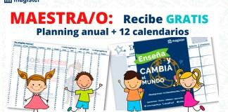 Gratis planning anual + 12 calendarios con Magister