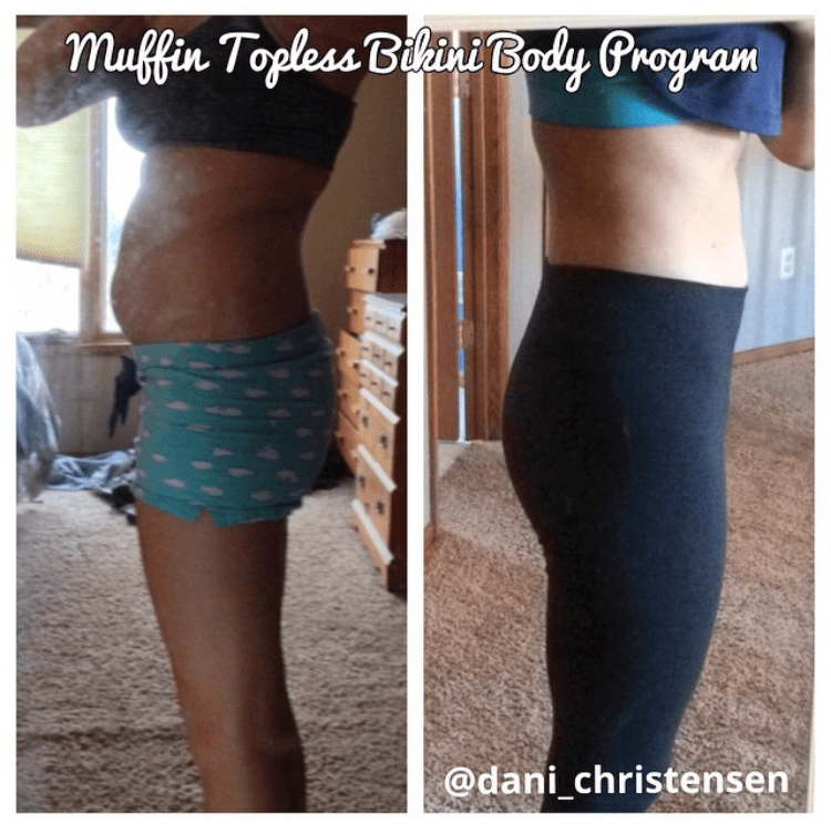 Dani flattened her tummy using the Bikini Body Program by Muffin Topless
