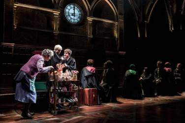 Sandy-McDade-Trolley-Witch-Anthony-Boyle-Scorpius-Malfoy-Sam-Clemmett-Albus-Potter-and-the-cast-Harry-Potter-and-the-Cursed-Child