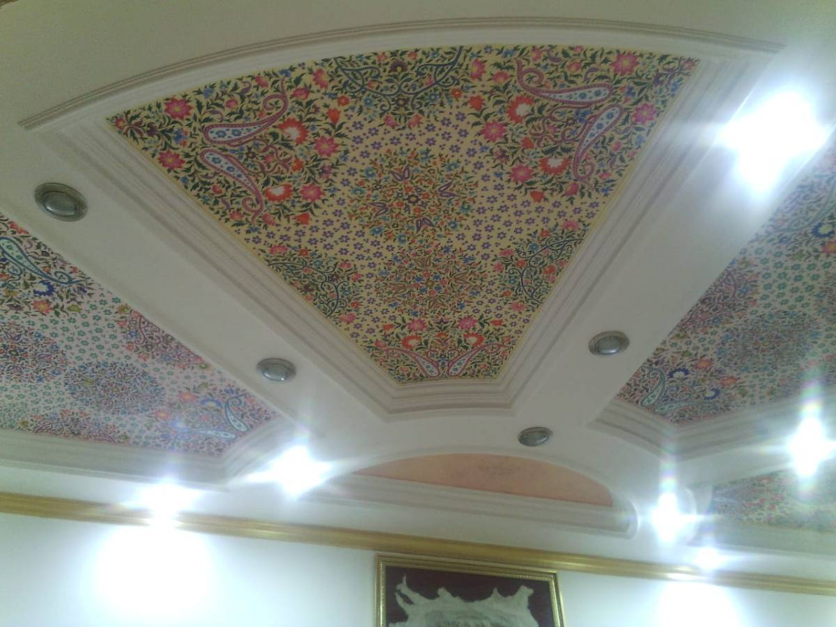 ceiling surface art, white floral art, Mughal