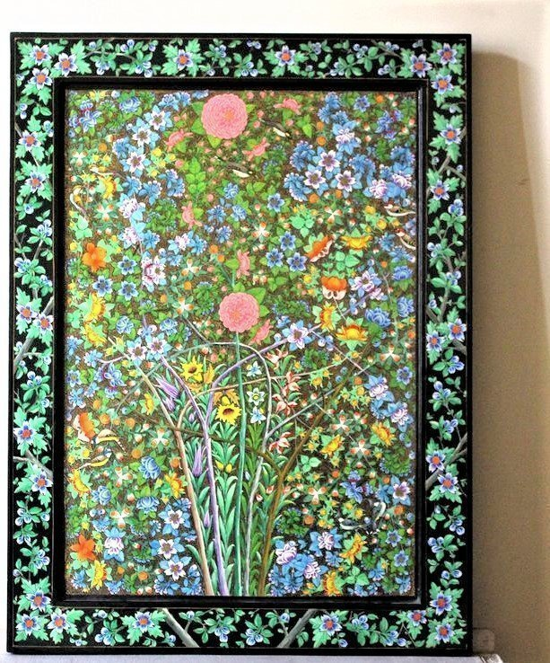 floral painting, board , wood
