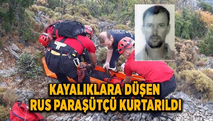Kayalıklara düşen Rus paraşütçü kurtarıldı