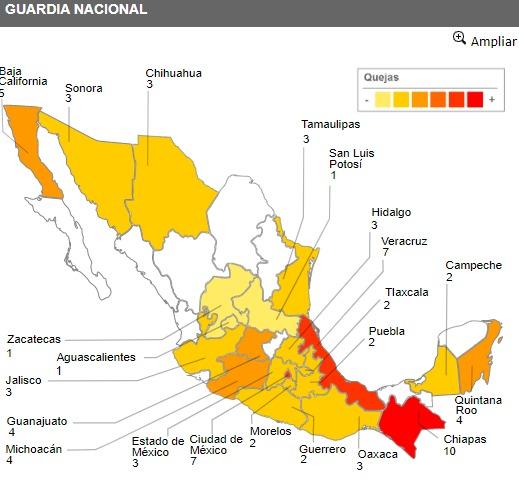 Fotografía del Sistema de Alerta de Violaciones a los Derechos Humanos de la CNDH. Violaciones de Derechos Humanos de la Guardia Nacional 2020.