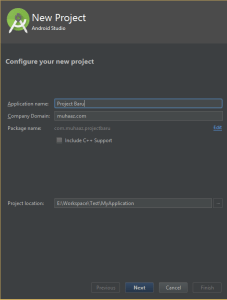 new project name android studio