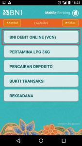 menu produk dan lainnya dari aplikasi mobile banking bni