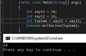 c# basit toplama işlemi