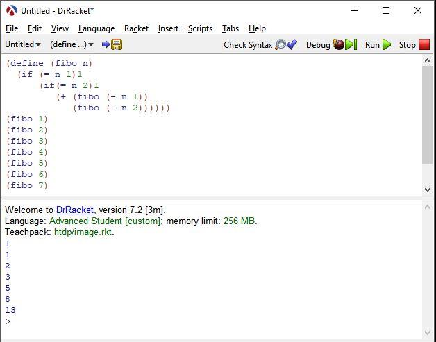 lisp programlama dili fibonacci