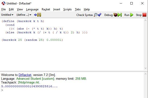lisp dili karekök hesaplama