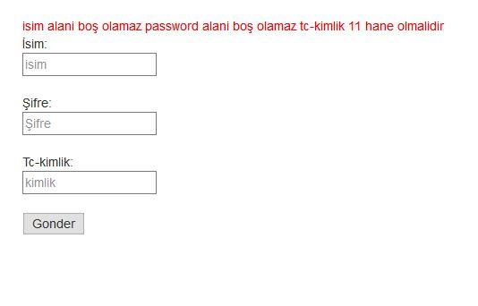 html jquery form kontrolü