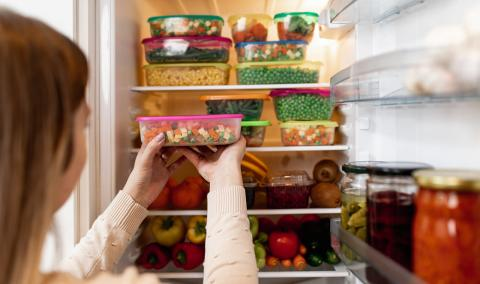Plastic food containers in the fridge