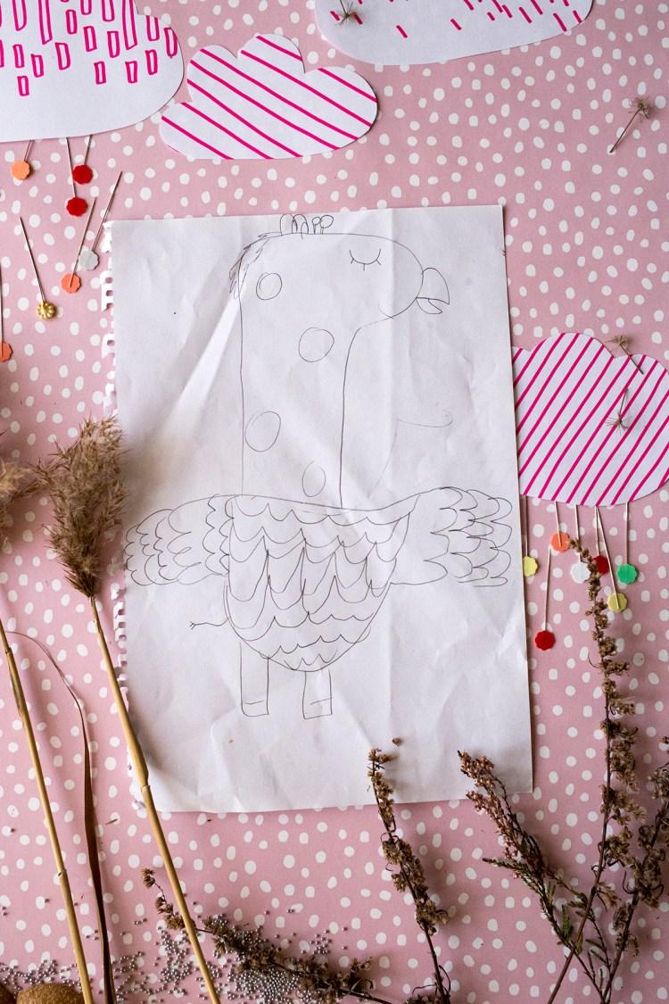 lapsen piirustuksesta pehmoksi