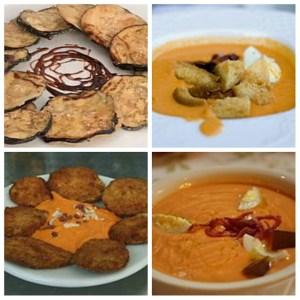 En las fotos de la derecha podemos ver platos de Salmorejo y a la izquierda de Berenjenas fritas.