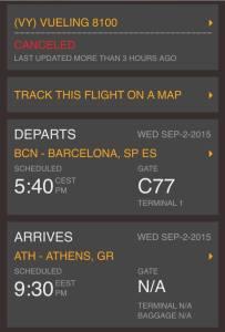 Pantallazo del estado de mi vuelo en FlightStats