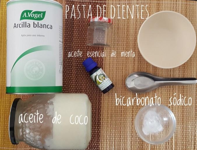 Ingredientes para la pasta de dientes