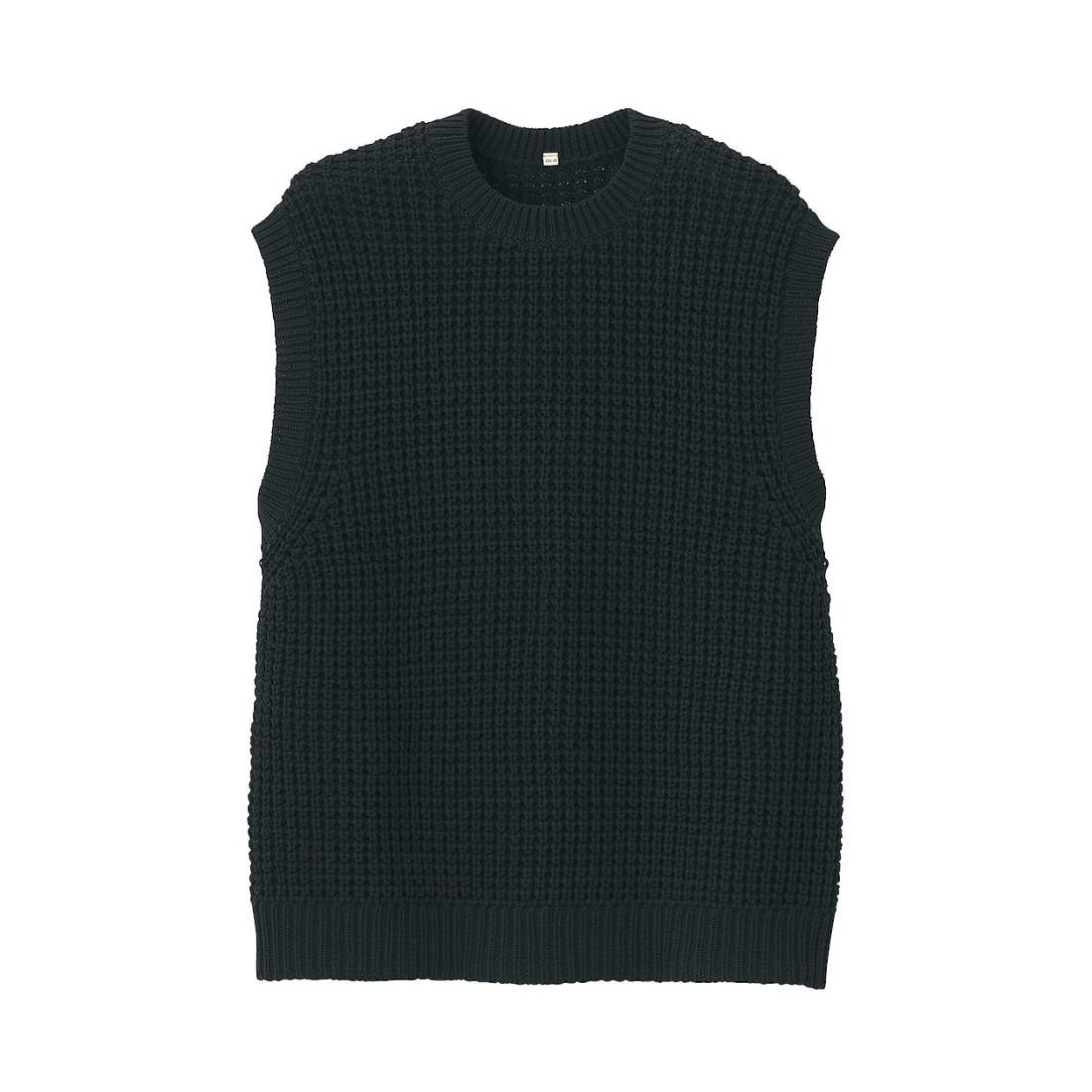 空気を含んだ糸で編んだワッフル編みベスト S~M・黒