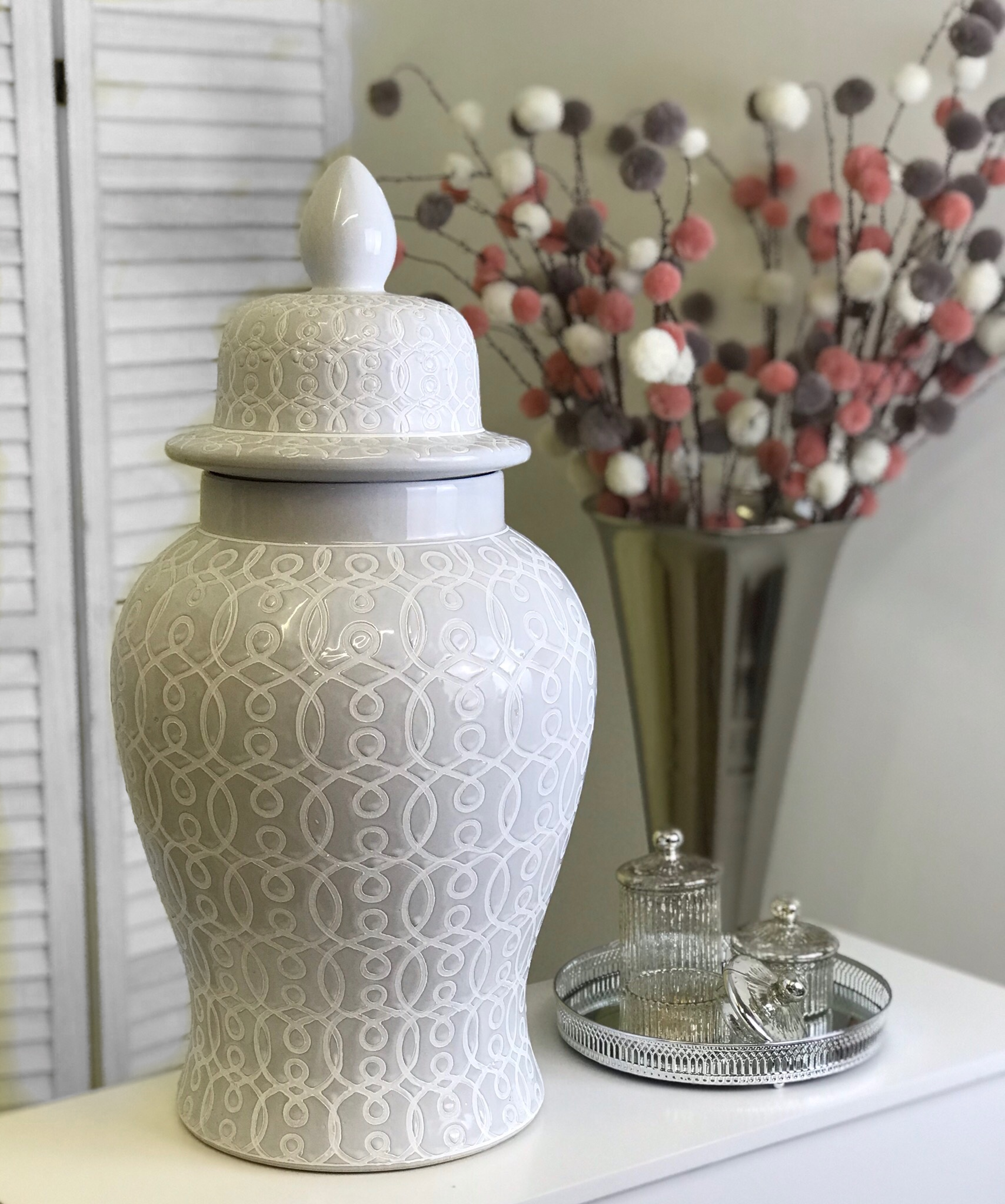 Large White Ceramic Patterned Ginger Jar  Mulberry Moon