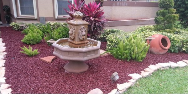 red rubber mulch landscaping