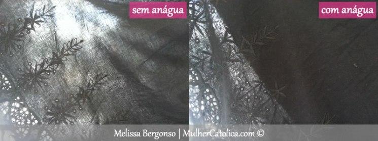 Anáguas e Forros: Saia com anágua e sem anágua. Veja a diferença contra a luz natural da janela!