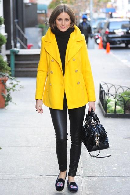 Olivia Palermo  Trench Coat amarelo