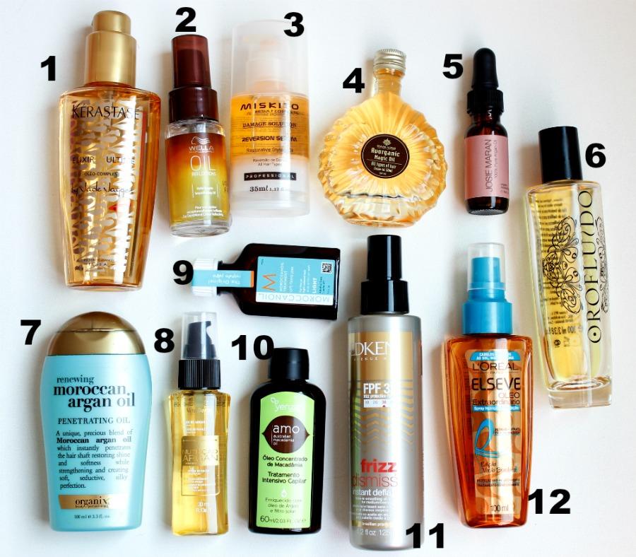 12 óleos para cabelos