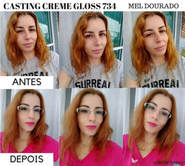 Casting Creme Gloss 734 Mel Dourado antes e depois resenha
