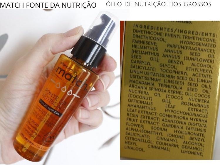 Match Fonte da Nutrição óleo de nutrição fios grossos Boticário resenha