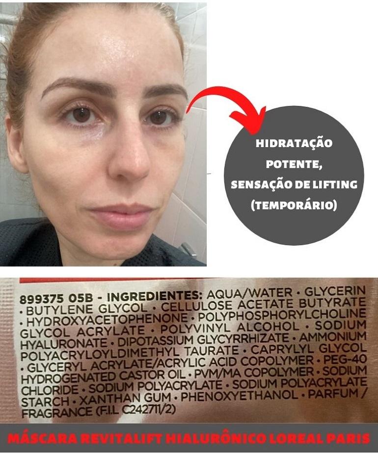 Máscara Facial Preenchedora Revitalift Hialurônico resenha composição