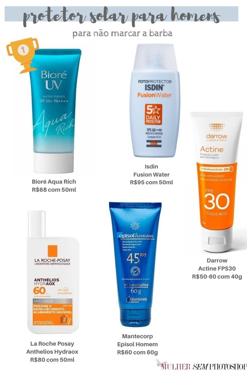 melhor protetor solar para homens com barba
