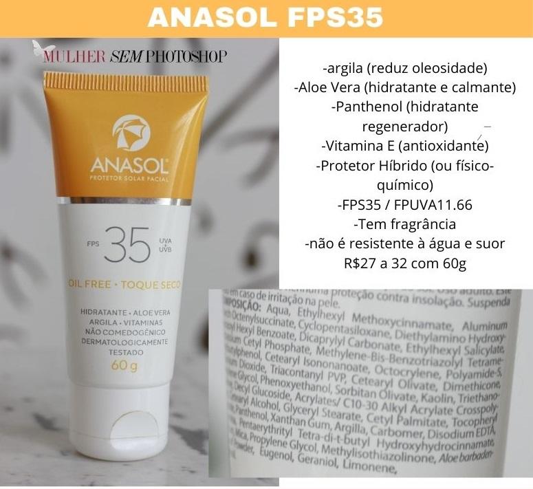 Anasol FPS35 Protetor Solar resenha e composição