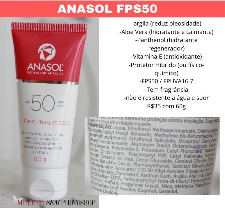 Anasol FPS50 Protetor Solar resenha e composição