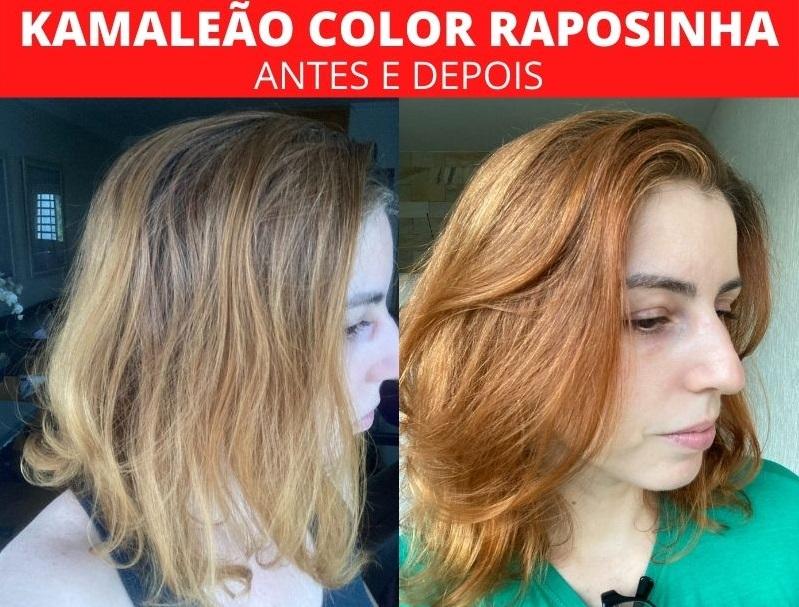 Kamaleão Color Raposinha antes e depois fios brancos